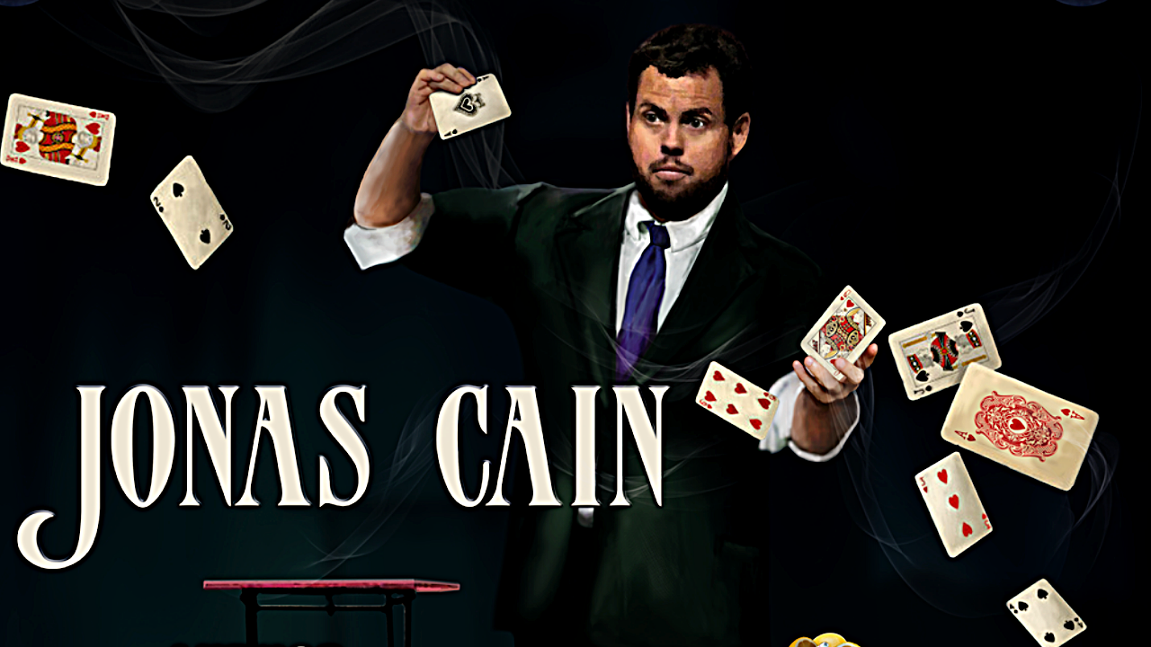 A poster of Jonas Cain a playing cards flying around him.